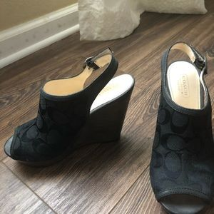Coach wedge shoes. Practically new. Size 6 1/2 B.